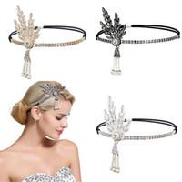 оголовье чарлстона оптовых-high quality materials Women Headband Pearl Pendant Charleston Party Bridal Headpiece Lady durable enought daily wear