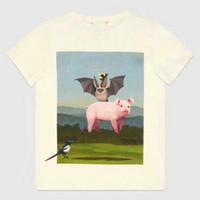 хлопок футболка ватин оптовых-мода 2019 дизайнер бренд Лето мужская футболка одежда летучая мышь розовый свинья фото печать птица назад письмо футболки футболка топ повседневная хлопок футболка