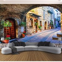 Wholesale house town for sale - Group buy Custom size Wallpaper Custom Photo Wall Paper Living Room Mural D Italian Town Street View European Landscape Wall Covering Papel De Parede