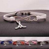 ingrosso antichi bracciali-HOT Fashion Jewelry Argento antico Hockey Sport ciondolo Bracciale Charm Bracciale gioielli misto velluto corda Infinity Love 8 Bangle -95