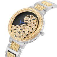 reloj de hebilla de gancho al por mayor-Diamond Leopard Pattern Dial Watch para mujeres Gaceful cuarzo analógico relojes para señora Durable correa de aleación con hebilla de gancho reloj de pulsera