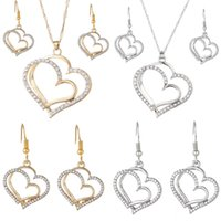 Luxury Wedding Necklace and Earring Set Fashion Gold Silver Crystal Charm Heart Jewelry set 2 colors mix