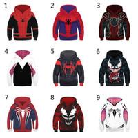hoodies do homem de aranha dos meninos venda por atacado-10 Estilo Rapazes Raparigas Spider-Man Into the Spider-Verse Hoodies 2019 New Children Spiderman Venom mangas compridas 3D Hoodies roupas infantis C5