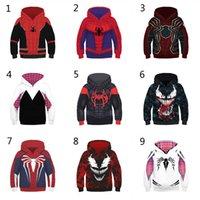 мальчики паук человек толстовки оптовых-10 Стиль Мальчики Spider-Man в Spider-Verse Hoodies 2019 новых детей Spiderman Venom Длинные рукава 3D Свитера с капюшоном дети одежды C5