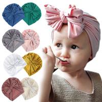 indischen stil haare großhandel-36-nettes Säuglingskleinkind Unisex-Kugel-Knoten-indische Turban Mütze Kinder Frühling und Herbst Kappen-Baby-Bogen-Hut-Solid Color Cotton Hair M597