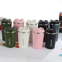 Wholesale car thermos resale online - New Style Double Stainless steel Coffee Mug Car Thermos Mug Leak_Proof Travel Thermo Cup Thermosmug For Gifts for your lover and parents