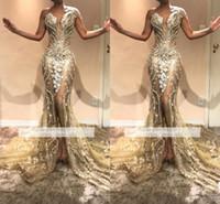lüks elbise gece elbisesi toptan satış-2019 Yeni Lüks Boncuk İnciler Bir Omuz Mermaid Gelinlik Modelleri Dantel Aplike Ön Bölünmüş Abiye Parti Pageant Törenlerinde bc0614