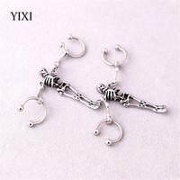 Wholesale men earring skeleton resale online - YIXI Skeleton Earrings Silver Horseshoe Piercing Industrial Vintage Punk Stainless Steel Earrings For Men Women Biker Jewelry