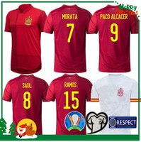 Wholesale soccer jersey shirt spain for sale - Group buy 2020 Spain Jersey home away Soccer Jersey PACO ALCACER ASENSIO MORATA ISCO INIESTA SAUL Adult man and kids kit Sports Football shirt