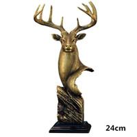 antigas, pintura, escovas venda por atacado-Estátuas criativas Elk Deer Head Esculturas Decorações de Mesa Home Office Estatuetas De Latão Feitos À Mão Elk Estatueta