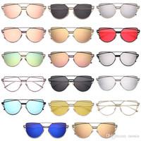 rose gläser gold sonne großhandel-Großhandel Vintage Lady Rose Gold Katzenauge Sonnenbrille Frauen Markendesign Twin-Beams Optische Brillengestell Männer Sonnenbrille Für Weibliche spielzeug