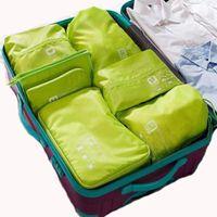 Wholesale travel kit clothes online - 7pcs set Travel Organizer Suitcase Clothes Finishing Kit Portable Partition Pouch Packing Cubes Bags Home Travel Accessories