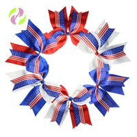 Wholesale swallow rings resale online - Baby Stars And Stripes Bowknot Hair Ring Double Swallow Tail Ribbon Hairband Inches Hair Accessories Independence Day hc O1