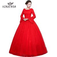 robe de mariée bling noeuds achat en gros de-Robe De Noiva 2018 Nouvelle Robe De Mariée Rouge Vintage Flare Manche Robe De Mariée Noeud Plus La Taille Bling Bling Robe De Mariée