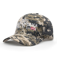 Wholesale camo army baseball hats for sale - Group buy Donald Trump Baseball Cap embroideried Make America Great Again hat camouflage Camo USA Flag outdoor letter sports cap LJJA2910