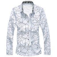 neues hemd langer mann s großhandel-Neue Designer Plus Size 7XL Frühlings-Mann-Hemd-Qualitäts-klassische formale Geometric Plaid Langarm Kleid Shirts Herren