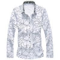 uzun gömlekli gömlekler toptan satış-Yeni Tasarımcı Artı boyutu 7XL Bahar Erkekler Gömlek Kaliteli Klasik Örgün Geometrik Ekose Uzun Kollu Elbise Gömlek Erkek