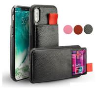 saca la tarjeta al por mayor-Para iPhone X XS 7 8 6 Plus Funda de cuero billetera Funda RFID a prueba de choques Tire hacia arriba Titular de la tarjeta de identificación de crédito Cubierta del teléfono