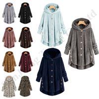 casacos de pele boton venda por atacado-Sherpa velo Overcoat Mulheres Outwear Irregular Botão Jacket Longo Coats senhoras Fur Hoodies geral Plush Brasão Furry Inverno Tops S-5XL C92710