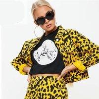 jaqueta de leopardo vermelho venda por atacado-2018 Vintage Azul Amarelo Vermelho Leopardo Jaqueta Mulheres Turn-down Collar Manga Longa Curto Casaco