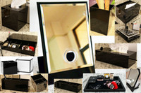 Wholesale new bedding resale online - Classic Acrylic Makeup Box Cosmetic Holder Desktop Mirror Makeup Tools Lipstick Jewelry Storage Tray Tissue Box For Wedding Box