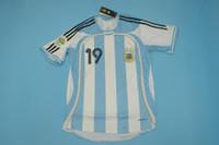 argentinien zuhause großhandel-2006 WORLD CUP argentina 06 version männer größe jersey 10 # RIQUELME 19 # MESSI 9 # CRESPO HOME Retro Jersey-Klassiker-Jersey.