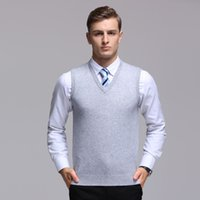 мужской корейский пуловер оптовых-2019 New Fashion  Sweater For Mens Pullover V Neck Slim Fit Jumpers Knitwear Vest Winter Korean Style Casual Mens Clothes