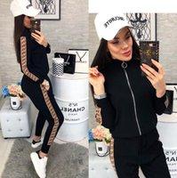 ingrosso set completo di joggers-Womens Casual Fashion Autunno Primavera a maniche lunghe in due pezzi Jogger Set Ladies Autunno Tuta felpa Nero Plus Size S-2XL WP321