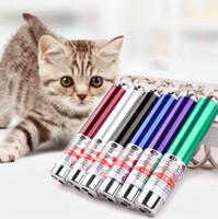 anahtarlık kalem lazeri toptan satış-Mini Kedi Kırmızı Lazer Pointer Kalem Komik LED Işık Pet Kedi Oyuncak Anahtarlık 2 In1 Tease Kediler Kalem OOA3970-2