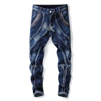 индивидуальные брюки оптовых-Новая мода мужские джинсы патч сплайсинга личность дизайнерские брюки мужские прямые дизайнерские джинсы для Hommes бренд джинсовые брюки ковбойские брюки