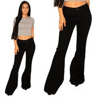 frauen erwachsene jeans großhandel-New Womens Black 60er 70er Jahre Stil Denim Bellbottoms Flares Retro Wide Flared Jeans