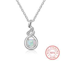 collar llamativo plata blanca al por mayor-venta caliente S925 plata collar de oro blanco para las mujeres tendencia de joyería collares declaración blanco opal joyas al por mayor de China