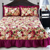 Wholesale ruffled bedding queen online - Home Textile Bedspread winter quilted bedspread Ruffles pillowcase cotton quilted bedskirt Luxury Flower American bed cover