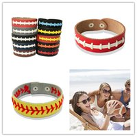 Wholesale girls hand bracelets resale online - Unisex Leather Seam Baseball Wristband Bracelet Softball Woven Bangles Wrist Strap Football Sports Wrist Rope Hand Accessories E3406