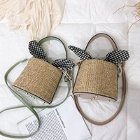 Wholesale small beach buckets resale online - Female Woven Rattan Bag Fashion Simple Small Square Bag Women Beach Straw Bucket Burlap Square Messenger Bag