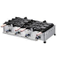 fabricante do waffle do gelado venda por atacado-Uso Comercial de Gás Grande 6 pcs Ice Cream Taiyaki Peixe Fabricante Máquina de Waffle Baker Iron Taiyaki Máquina