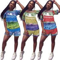 fato de penas venda por atacado-Champions Marca Mulheres Two Piece Shorts Define Designer Treino Rainbow Feather T shirt + Shorts Sportswear Bodysuit Verão Outfits C61901