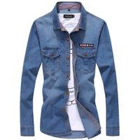 herren blaue jeanshemden großhandel-Mens-blaue Denim-Hemden neuer Frühlings-Herbst-Mann-Baumwollbeiläufige dünne Hemden-gute Qualitäts-männliche lange Hülsen-Jean-Hemden Größe 5XL