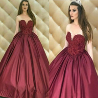 Wholesale satin ruffle robes resale online – Vintage Arabic Burgundy Evening Gowns A Line Floor Length Formal Robe de soriee Sweetheart Princess Prom Party Gowns