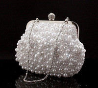 Wholesale cute black hand bags for sale - Group buy Cute Full Pearls Beaded White Bridal Wedding Hand Bags Evening Party One Shoulder Small Clutch Dinner Bags Cheap White ivory Black
