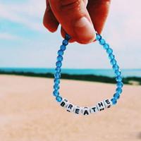 Wholesale string crystals beads resale online - Creative DIY String Simple Lake Blue Crystal Beaded Bracelet Handmade Alphabet BREATHE Acrylic Bead Bangle Friendship Bracelet Jewelry Gifts