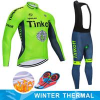 ingrosso mtb saxo jersey banca-Ciclismo Jersey 2019 Pro bancari Team Saxo Tinkoff invernale Fleece Abbigliamento Ciclismo MTB Salopette pantaloni del Ropa Ciclismo Triathlon