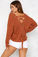 Wholesale cover up sweater for sale - Group buy Fashion Spring autumn sexy backless lace up sweater fashion knitted sweater long sleeve pulloves mix colors