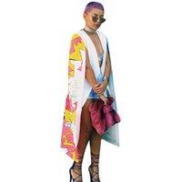 derin v hırka toptan satış-Kadınlar Açık Dikiş Baskı Siper Moda Graffiti Baskı Uzun Pelerin Derin V Yaka Panço Hırka Vintage Gevşek Coat