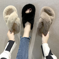 Wholesale indoor korean slippers resale online - 2019 new winter rabbit fur slippers Korean version of outer wear chic cross plush slippers female flat word slippers women