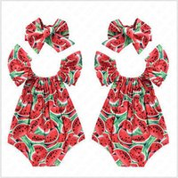 Wholesale fruit clothes resale online - Toddler Baby Girls Fruit Romper Bodysuit with Hairwrap Headband Summer Watermelon Fly Sleeve Jumpsuits Climbing One piece Clothing D62808
