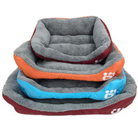 Wholesale plastic kennels for sale - Group buy Candy Color Footprint Pet Bed paw Supplies Square Shape Dog Pads Cute Warm Plush Creative Convenient Mould Sofa LJJA2461