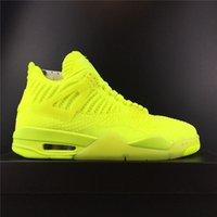 флуоресцентные зеленые баскетбольные туфли оптовых-2019 Новый флуоресцентный зеленый баскетбол обувь 4 мужчины 4s летать спортивная обувь вязать дизайнер удобные кроссовки с коробкой