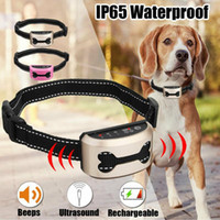 Wholesale small dog barking collars resale online - Rechargeable Dog Anti Bark Collar Waterproof Stop Barking Dog Ultrasonic Training Collars No Bark Collar for Small Medium