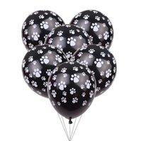 doğum günü balonları beyaz toptan satış-Köpek Ayak Izleri Siyah Beyaz Lateks Balonlar Doğum Günü Partisi Dekoru Hayvan Tema Şişme Bebek Hediye Klasik Oyuncak Balon 12 inç 2.8g 100 adet